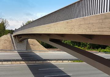 Brückenbauwerk BW 400c, über die BAB A9 bei Schwaig