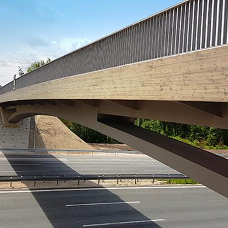 Brückenbauwerk BW 400c, über die BAB A3 bei Schwaig